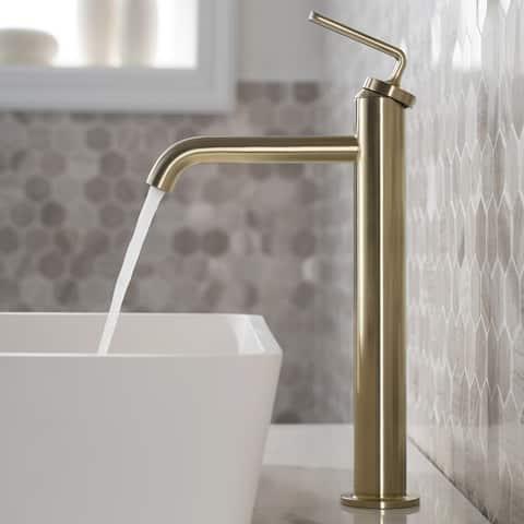 KRAUS Ramus Single Handle Vessel Bathroom Sink Faucet w/ Pop Up Drain