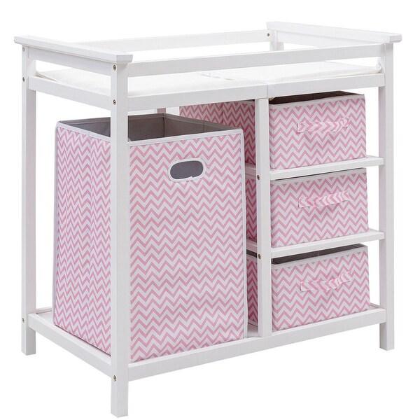 Costway Pink Infant Baby Changing Table w/3 Basket Hamper Diaper Storage Nursery