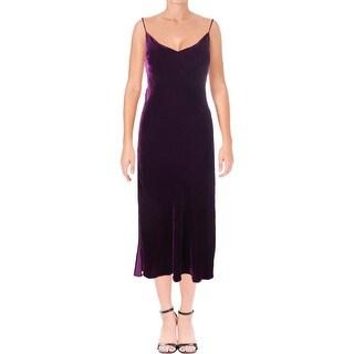 LoveShackFancy Womens Kate Slip Dress Velvet Ankle-Length