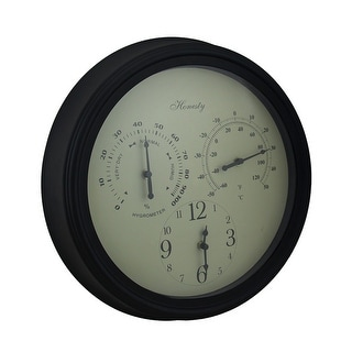 Metal Hygrometer Thermometer and Clock Outdoor Wall Hanging
