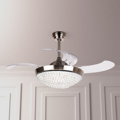 46 Inch Ceiling Fan with Remote Crystal Chandelier Fans with Retractable Blades