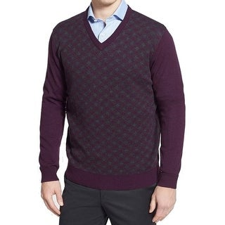 Toscano NEW Purple Grey Mens Size XL Pullover V-Neck Wool Knit Sweater