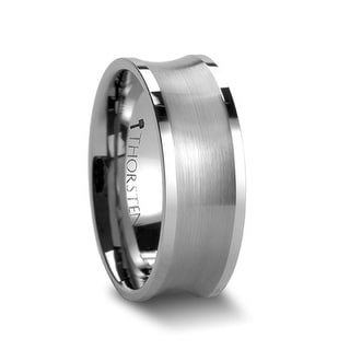 THORSTEN - TREVICO Brushed Concave Tungsten Ring with Flat Polished Edges