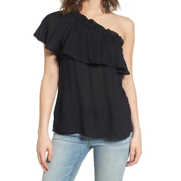 987e09809e2c6 Shop Hinge Black Womens Size Medium M Ruffle One-Shoulder Knit Top - Free  Shipping On Orders Over  45 - Overstock.com - 26988694
