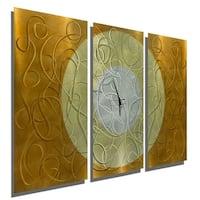 "Statements2000 Copper/Silver Metal Panel Art Wall Clock by Jon Allen - Autumn Moon - 38"" x 24"""