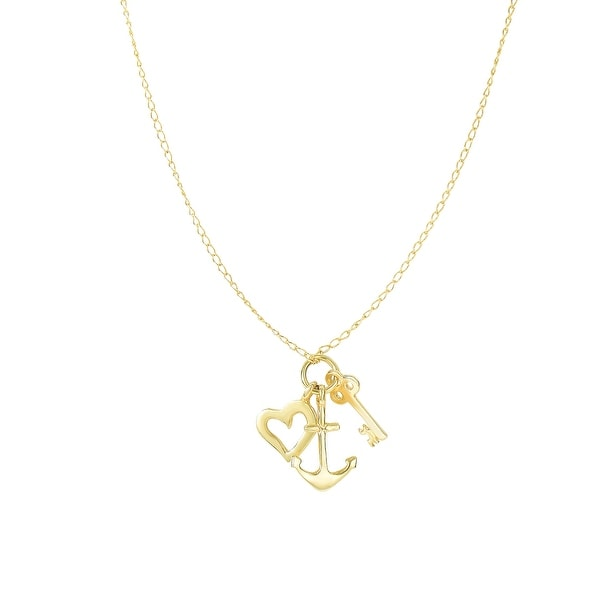 Mcs Jewelry Inc  14 KARAT YELLOW GOLD ANCHOR, HEART AND KEY CHARMS NECKLACE (18 INCHES)