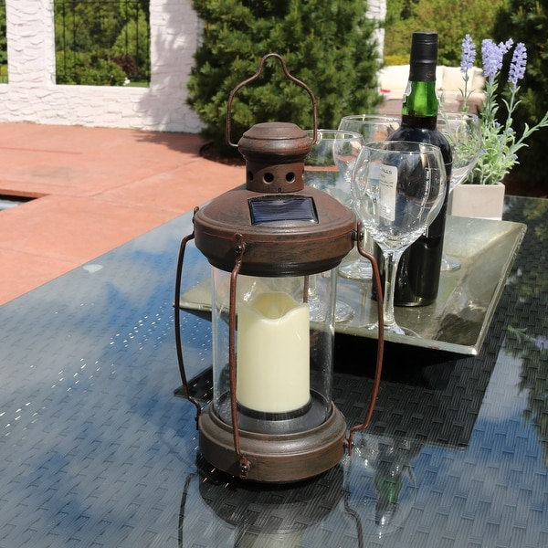 Sunnydaze 12 Inch Outdoor Antique Hanging Solar Lantern with Candle & LED