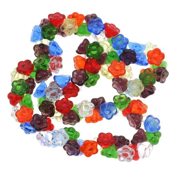 Czech Glass Flower Drops Rainbow Color Mix 7mm (100 Beads)