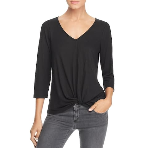 Status by Chenault Womens Pullover Top Knot-Front V-Neck