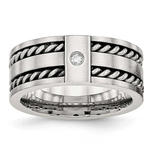 Stainless Steel Antiqued and Brushed with CZ Twisted 9 mm Band Ring - Sizes 8 - 14