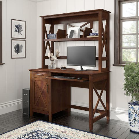 Key West 48W Small Computer Desk with Hutch by Bush Furniture