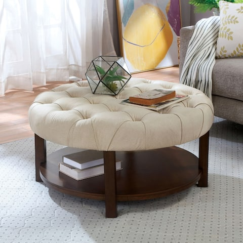 Furniture of America Dilly Transitional Beige and Walnut Round Ottoman