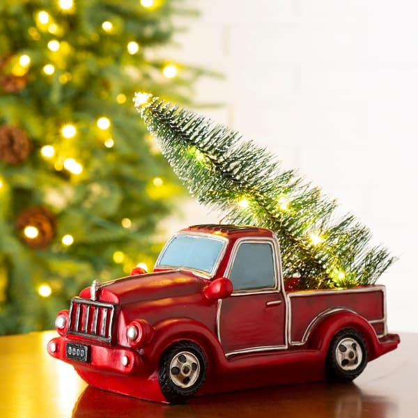 Shop Glitzhome Led Lighted Red Truck Christmas Table Decor 11 L 5 2 W 6 H Overstock 23006655