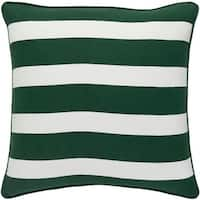 "18"" Snow White and Forest Green Peppermint Strip Decorative Holiday Throw Pillow"