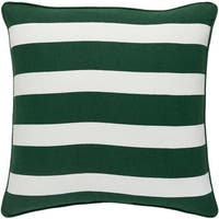 "18"" Snow White and Forest Green Peppermint Strips Decorative Holiday Throw Pillow Cover"