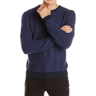 Calvin Klein CK Sweater XX-Large Navy Blue and Purple Striped Crewneck - 2XL