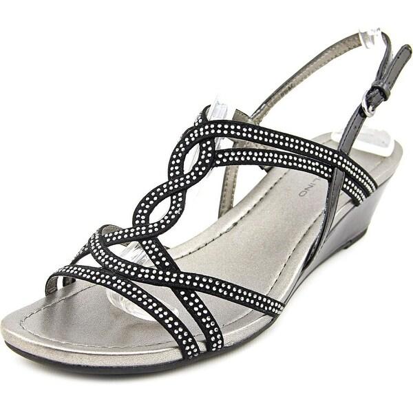Bandolino Gilnora Women Open Toe Canvas Black Wedge Sandal