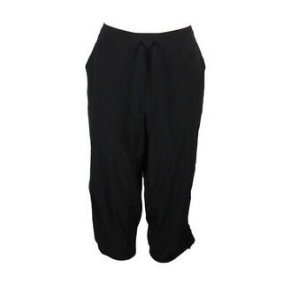 Style & Co. Plus Size Deep Black Straight Leg Active Capri Pants 0X