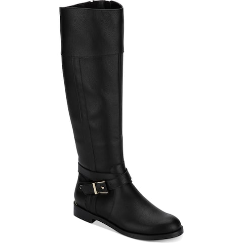 Kenneth Cole Reaction Womens Wind Riding Boot Riding Boots Faux Leather - Black