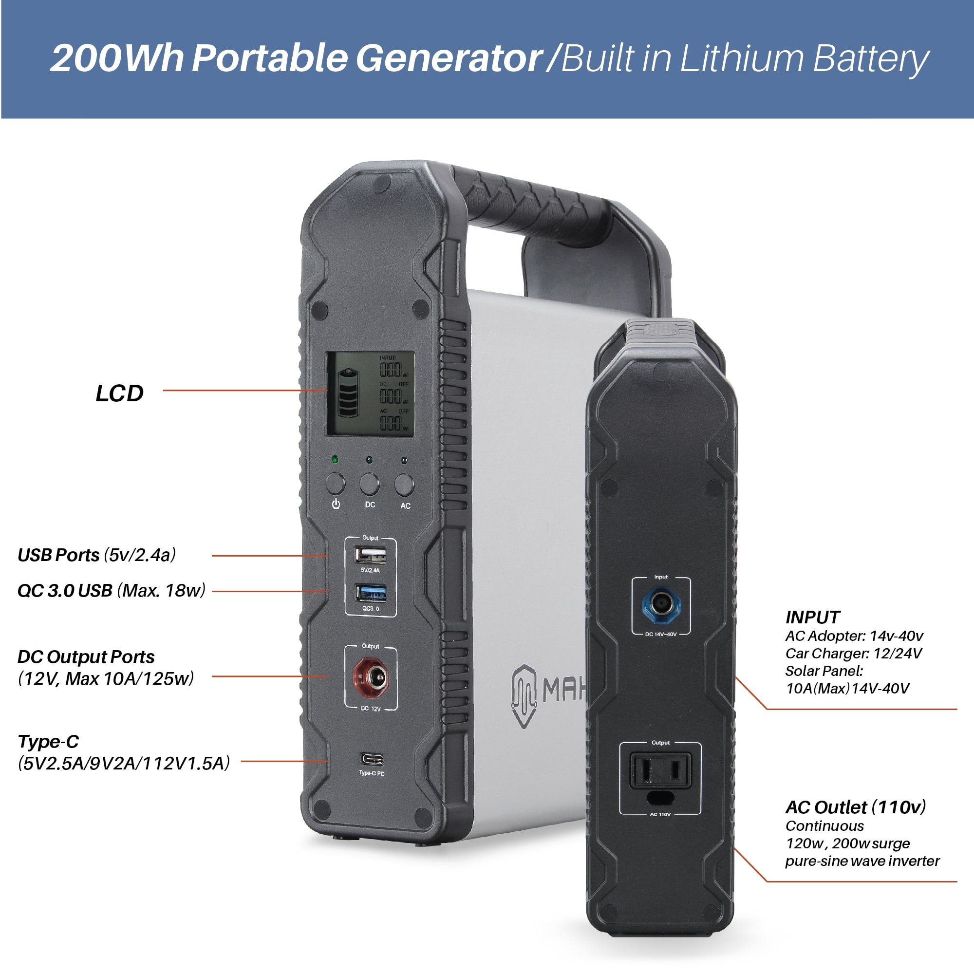 MAKOM 200Wh Portable Power Generator Lithium ion Power Source Power Supply  with 12V Car, DC/AC/USB Outputs and Inverter