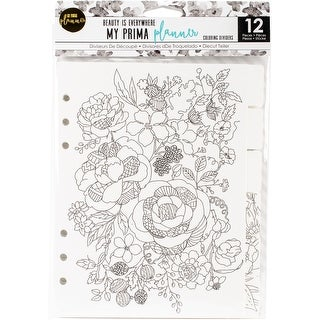 "My Prima Planner Coloring Tabbed Dividers 6.5""X8"" 12/Pkg-Beauty Is Everywhere"