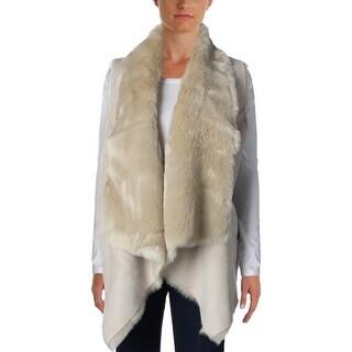 Calvin Klein Womens Faux Suede Faux Fur Outerwear Vest - M