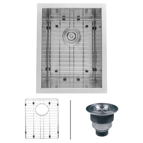 "Ruvati RVH7110 Nesta 14"" Undermount Single Basin 16 Gauge Stainless Steel Kitchen Sink with Basin Rack and Basket Strainer -"
