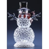 "14"" Icy Crystal Battery Operated Clear LED Lighted Snowman Christmas Figure"