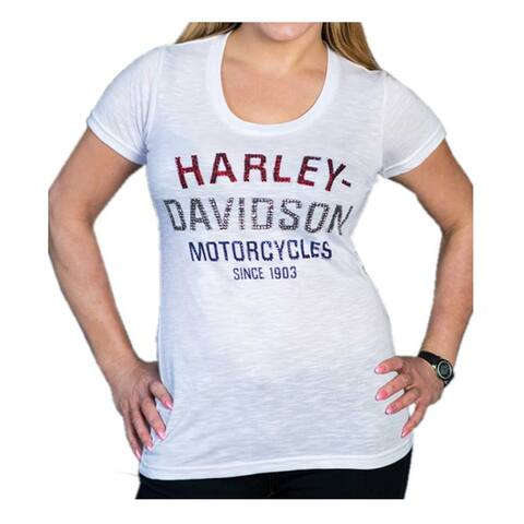 Harley-Davidson Women's Blinged Heritage Short Sleeve Scoop Neck Tee - White