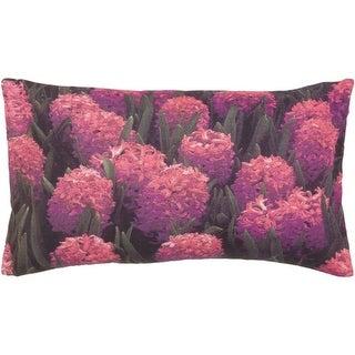 """20"""" Boysenberry Garden of Flowers Decorative Rectangular Throw Pillow"""