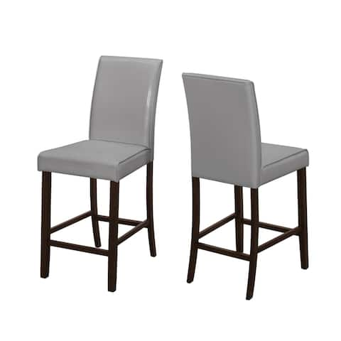 Offex 2 Piece Contemporary Dining Chair Grey - Leather Look Counter Height