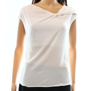 Bellatrix NEW Bright White Women's Size XS Solid Gathered Seamed Blouse