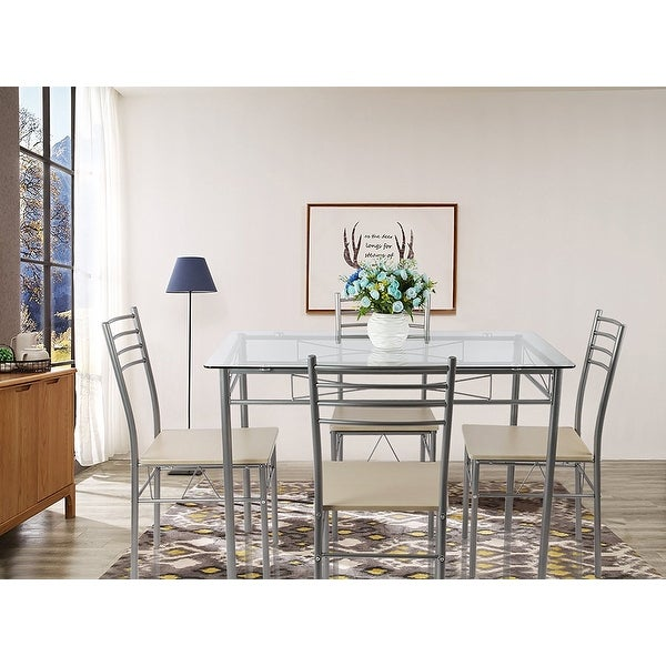 VECELO Glass Dining Table Set,with 4 Chairs Kitchen Table set(Black ...