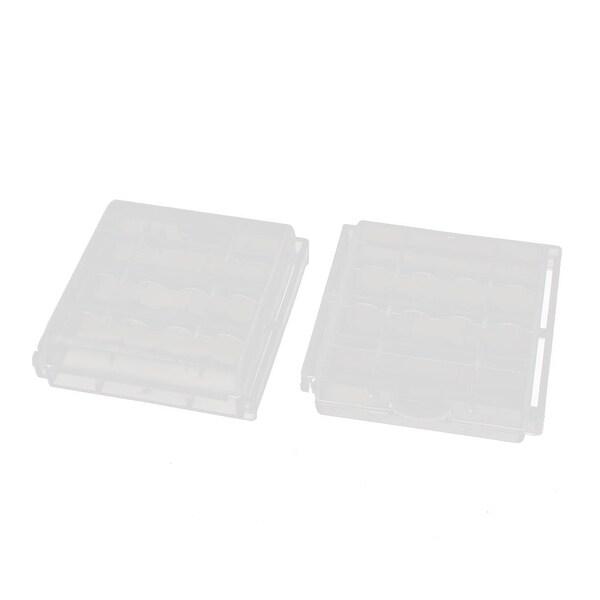 2Pcs Transparent Storage Case Plastic Battery Holder Organizer for AA Batteries