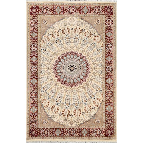 "Vegetable Dye Wool/ Silk Tabriz Oriental Area Rug Hand-knotted Carpet - 4'7"" x 7'0"""