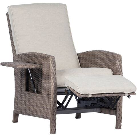 Hanover Portland Outdoor Recliner with Pop-Out Shelf in Grey