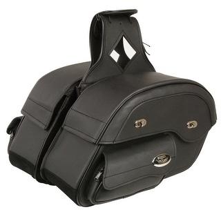 Black Leather Motorcycle Saddle Bags 14X10X5.5X18
