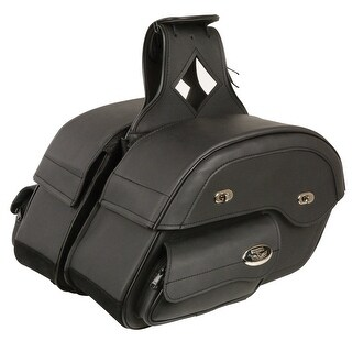 Black Leather Motorcycle Saddle Bags 14X10X5.5X18