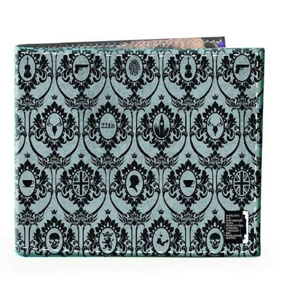 Sherlock Holmes Men's Bi-Fold Wallet: 221B Wallpaper (Grey) - Multi