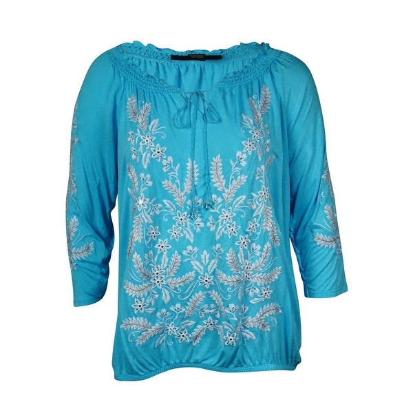 INC International Concept Women's Embroidered Peasant Top - Blue