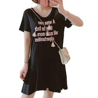 QZUnique Women's Modal Plus Size Letter Print Lace Up Midi Dresses Short Sleeves Loose Skirt