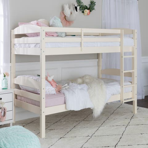 Taylor & Olive Christian Off-white Wood Twin Over Twin Bunk Bed