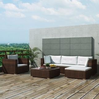 "vidaXL 6 Piece Garden Lounge Set with Cushions Poly Rattan Brown - 28"" x 28"" x 25"""