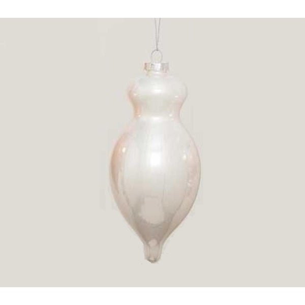 "5.5"" Pearl White Ribbed Glass Finial Christmas Ornament"