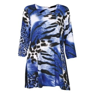 Women's Tunic Top - 2-Pocket Animal Print Swing Shirt - Blue Tiger