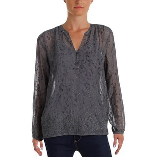 NYDJ Womens Petites Henley Top Sheer Embellished