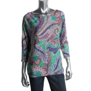 Lauren Ralph Lauren Womens Printed 3/4 Sleeves Pullover Top - M