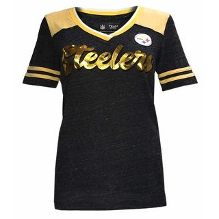 New Era Women's NFL Pittsburgh Steelers V-Neck T-Shirt Short Sleeve Tee ONT5GO