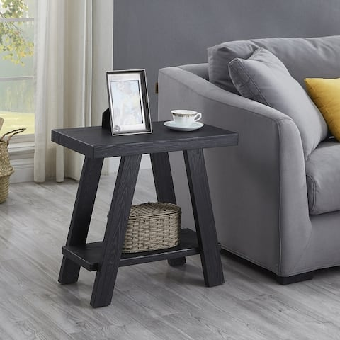 Athens Contemporary Wood Shelf Side Table in Black Finish