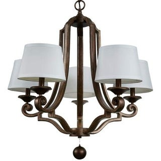 """Park Harbor PHHL6265 Haven 28"""" Wide 5 Light Single Tier Empire Style Chandelier with Tapered Fabric Shades - Mahogany"""